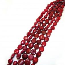 №20 коралл округлый, плоский, красно-коричневый, нитка