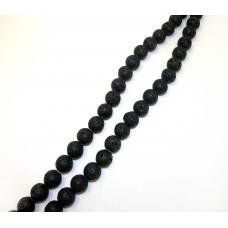 Лава черная d 14мм, нитка 36см
