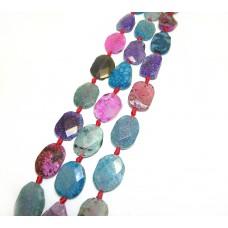 Арт.№22 камень натур. овал граненый d 30x22мм, цветной,шт.