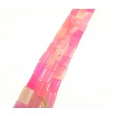 Арт.№57 камень натур. прямоугольник d 22x16мм, прозрачно-розовый, нить 34см.