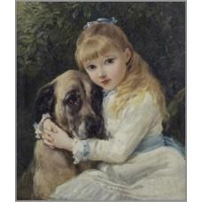 F-112 Картина (Девочка с собакой) Алмазная мозаика 35x40см, 23 цвета