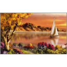F-113 Картина (Парусник на закате) Алмазная мозаика 40x25см, 33 цвета
