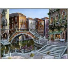F-162 Картина (Венецианский мост) Алмазная мозаика 50x40 см, 38 цветов