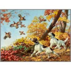F-179 Картина (Охота на куропаток) Алмазная мозаика 45x60см, 31 цвет