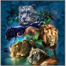 F-212/1 Картина (Дикие кошки) Алмазная мозаика 45x45см, 40 цветов