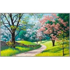 F-220  Картина (Цветущая весна) Алмазная мозаика 48x30см, 33 цвета