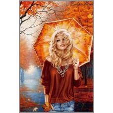 F-229  Картина (Осенняя прогулка) Алмазная мозаика 25x35 см, 37цветов