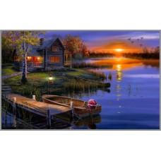 F-271 Картина (Дом возле озера) Алмазная мозаика 50x30см,39 цветов