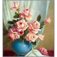 F-315 Картина (Розы в синей вазе) Алмазная мозаика 30x35см, 30 цветов