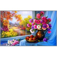 F-352 Картина (У окна) Алмазная мозаика 40x30 см, 38 цвета