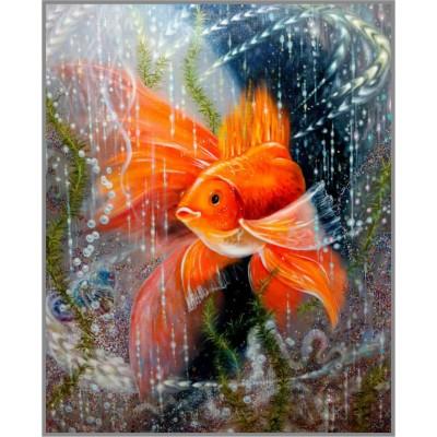 F-369 Картина (Золотая рыбка) Алмазная мозаика 30x40 см, 35 цветов