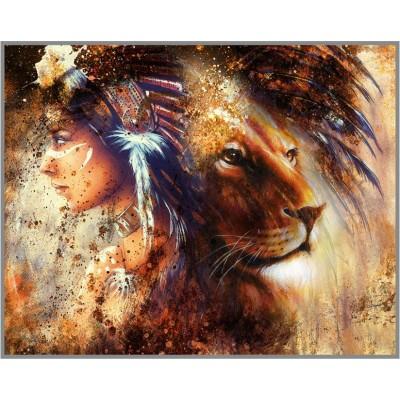 F-376 Картина (Пробуждение духа) Алмазная мозаика 40x30см,36 цветов