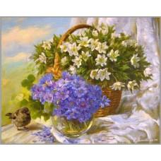F-428 Картина (Аромат весны) Алмазная мозаика 50х40см ,45 цветов