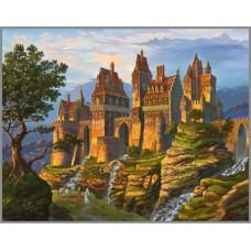 ML-16 Алмазная мозаика на подрамнике (Замок в горах) 50x40см, 35 цветов