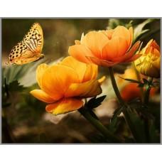 ML-21 Алмазная мозаика на подрамнике (Огненный цветок) 50x40см, 35 цветов