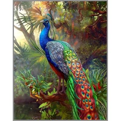 ML-7 Алмазная мозаика на подрамнике (Царственная птица) 50x40см, 35 цветов