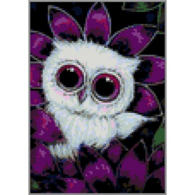 N-150 Картина (Белый совенок) Алмазная мозаика   20x28см, 24 цвета