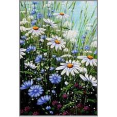 N-158 Картина (Ромашковое настроение) Алмазная мозаика   20x29см, 25 цветов