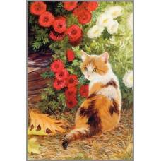 N-168 Картина (Кошечка в цветах) Алмазная мозаика 20x28см, 36 цветов