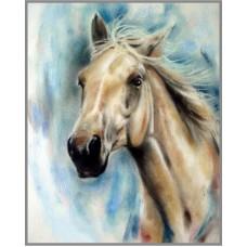 N-186 Картина (Каурый конь) Алмазная мозаика 20x28см, 19 цветов