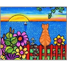 N-200х Картина (Кот на заборе) Алмазная мозаика 25x20см, 20 цветов