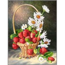 N-257 Картина (Корзинка с ромашками и клубникой) Алмазная мозаика 20x26см, 27 цветов