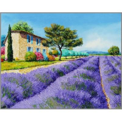 N-276 Картина (Лавандовое поле) Алмазная мозаика 25x20см, 23 цвета