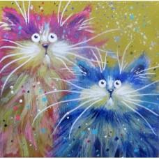 N-296 Картина (Прикольные коты) Алмазная мозаика 20x20см, 22 цвета