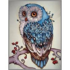 N-375 Картина (Сапфировая сова) Алмазная мозаика  20х27см, 26 цветов