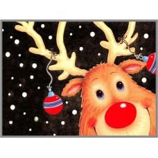 N-377 Картина (Рождественский олень) Алмазная мозаика  28х20см, 28 цветов