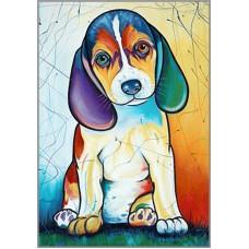 N-389 Картина (Витражный щенок) Алмазная мозаика  20х28см, 29 цветов