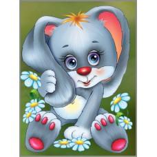 N-409 Картина ( Милашка в ромашках ) Алмазная мозаика  20x26см,  28 цветов