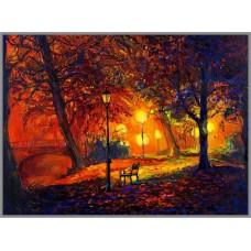 N-413 Картина (Осенний сквер) Алмазная мозаика  29x20см, 33 цвета