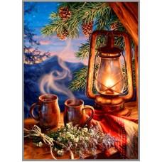 N-709 Картина (Таежный вечер) Алмазная мозаика  21x29см, 32 цвета