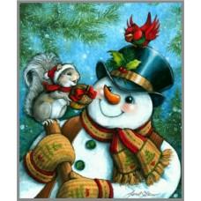 N-721 Картина (Снеговик) Алмазная мозаика 20х27 см, 40 цветов