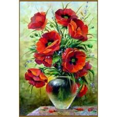 N-801/1 Картина (Маковый букет) Алмазная мозаика 19x29см, 31 цвет