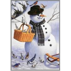 NR-39 Картина (Веселый снеговик) Алмазная мозаика 29.5x20.5см, 24 цветов