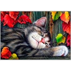 NR-83 Картина (Осенний релакс) Алмазная мозаика 29.5x20.5см, 28 цветов