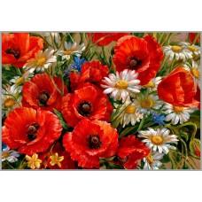 NR-89 Картина (Маки) Алмазная мозаика 29.5x20.5см, 30 цветов