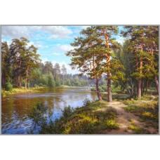 NR-90 Картина (Озеро в лесу) Алмазная мозаика 29.5x20.5см, 28 цветов