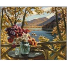 O-502 Картина (Ваза с цветами) Алмазная мозаика 50x40см, 30 цветов