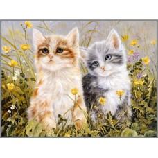R-910 Картина (Котята) Алмазная мозаика 35x27см, 32 цвета