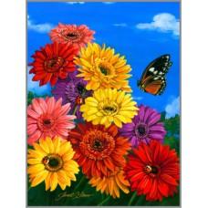 R-915 Картина (Герберы) Алмазная мозаика 30x40см, 34 цвета