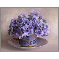 R-923 Картина (Цветы в чашке) Алмазная мозаика 35x27см, 39 цветов