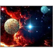 SP-14 Алмазная мозаика на подрамнике (Загадки космоса) 40x30см, 35 цветов