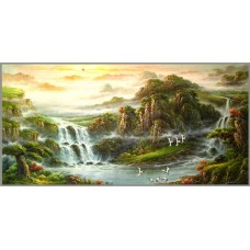 Z-019 Картина (Водопад) Алмазная мозаика 145x72см, 55 цветов