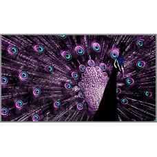 Z-146 Картина (Пурпурный павлин) Алмазная мозаика 70x39см, 37 цветов