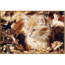 N-181x Картина (Котёнок в листве) Алмазная мозаика 28x19см, 18 цветов