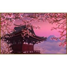 Z-319x Картина (Пагода весной) Алмазная мозаика 56x35см, 24 цвета
