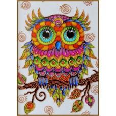 N-340/1 Картина (Совушка) Алмазная мозаика 20x27 см, 29 цветов